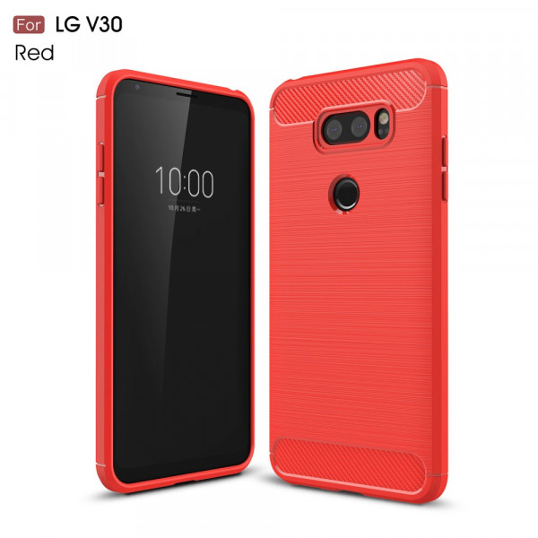 LG V30 - Silikon Gummi Case Metall Carbon Look rot