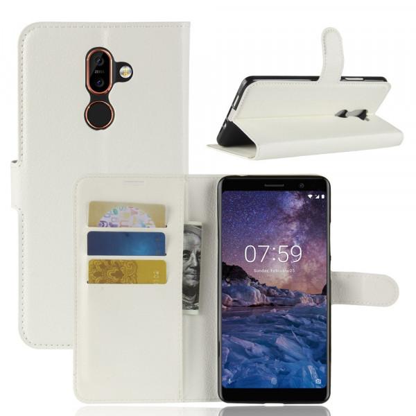 Nokia 7 Plus - Leder Taschen Etui  Hülle Kartenfächer weiss