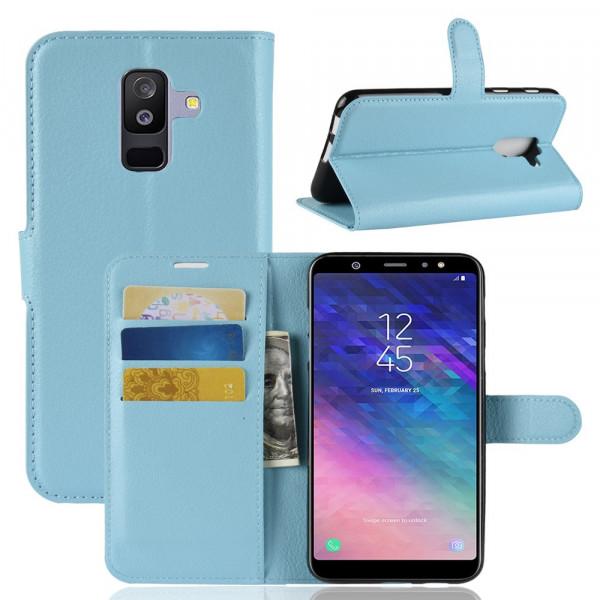 Galaxy A6+ PLUS 2018 - Leder Taschen Etui Kartenfächer hellblau