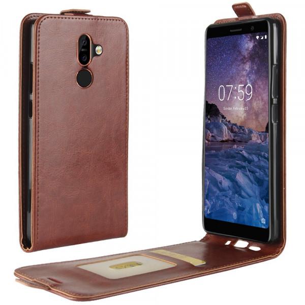 Nokia 7 Plus - Leder Flip Case mit Fotofach vertikal braun