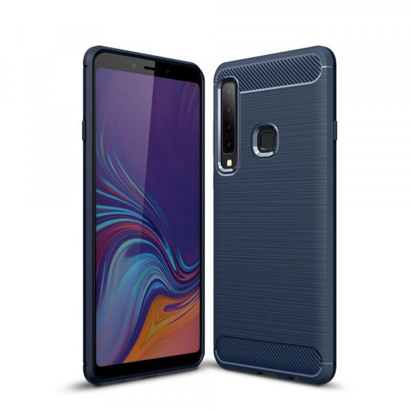 Galaxy A9 2018 - Silikon Gummi Case Metall Carbon Look blau