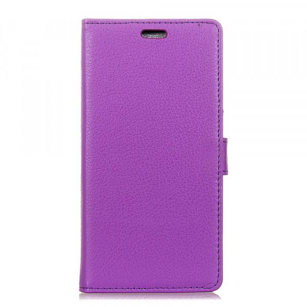 Nokia 2.1 2018 - Leder Taschen Etui  Hülle Kartenfächer violett