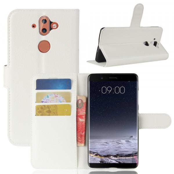Nokia 9 - Leder Taschen Etui  Hülle Kartenfächer weiss