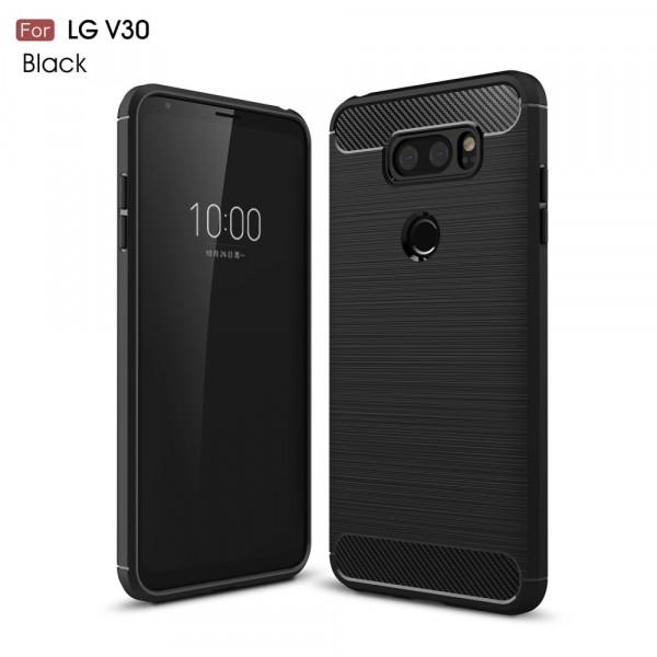 LG V30 - Silikon Gummi Case Metall Carbon Look schwarz