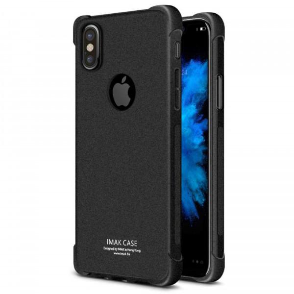 iPhone X - IMAK Kombi Hülle und Schutzfolie Gummi Gase matt schwarz