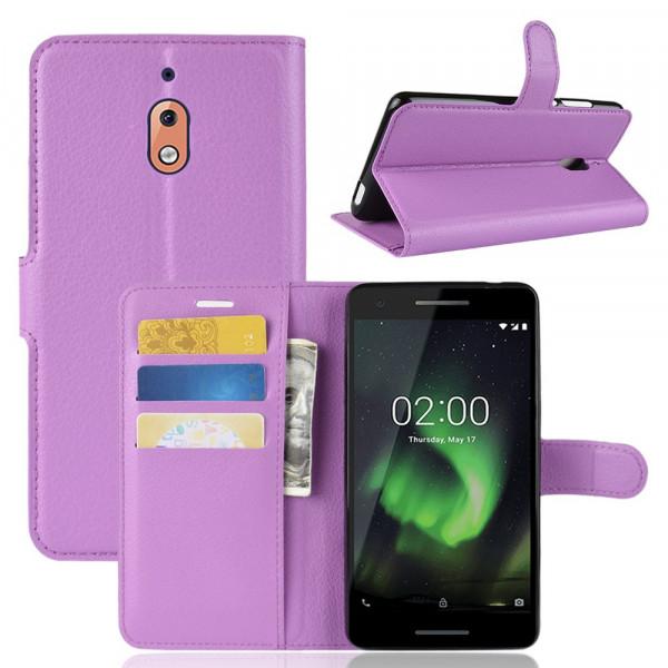 Nokia 2.1 2018 - Leder Etui Tasche violett