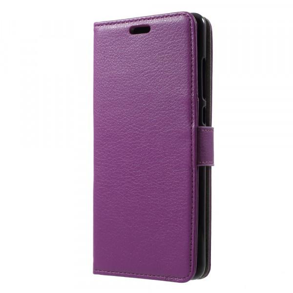 Nokia 5.1 2018 - Leder Taschen Etui  Hülle Kartenfächer violett