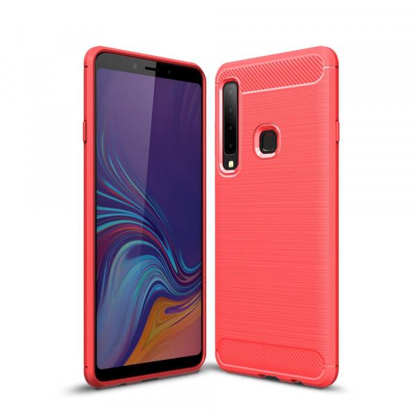 Galaxy A9 2018 - Silikon Gummi Case Metall Carbon Look rot