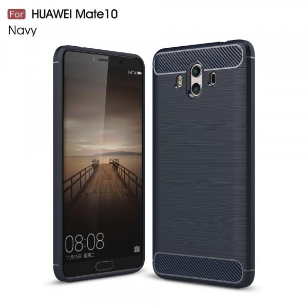 Huawei Mate 10 - Silikon Gummi Case Metall Carbon Look blau