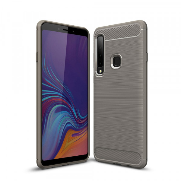 Galaxy A9 2018 - Silikon Gummi Case Metall Carbon Look grau