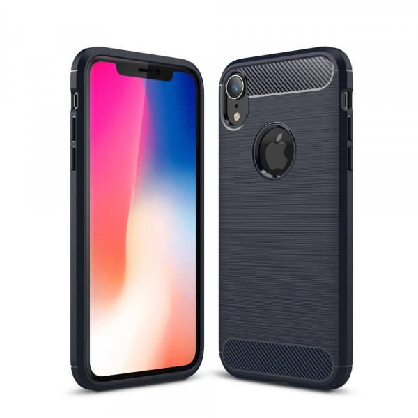 iPhone XR - Silikon Gummi Case Metall Carbon Look dunkelblau