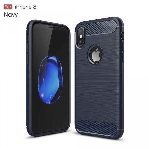 iPhone 8 - Silikon Gummi Case Metall Carbon Look dunkelblau