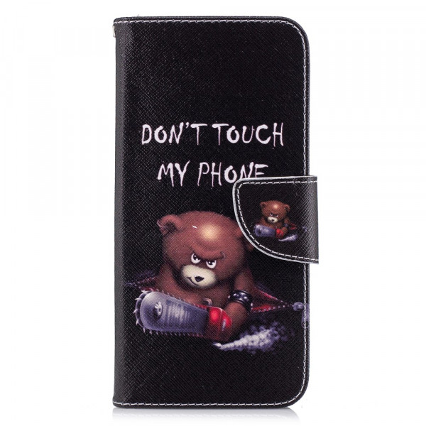 LG G7 - Leder Taschen Etui  Hülle Kartenfächer Don't Touch Bär