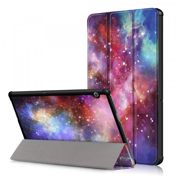 MediaPad T5 10.1 - Tri-fold Smart Leder Tasche Hülle Universum