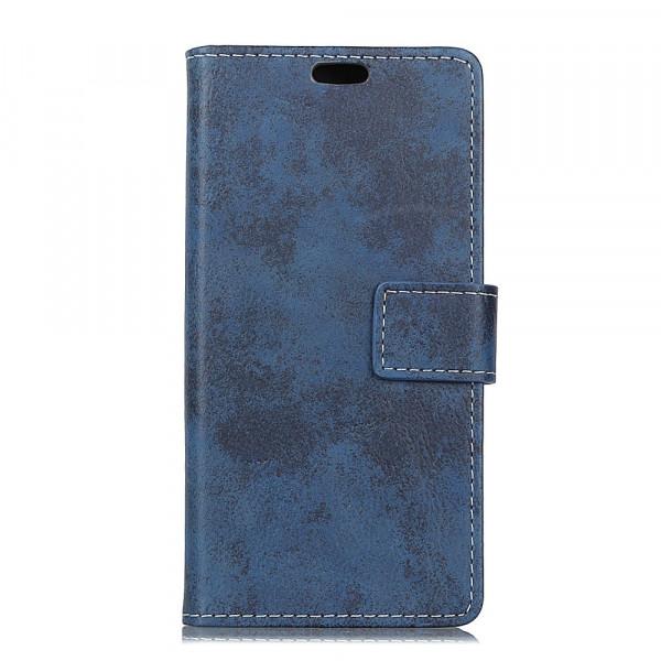 Galaxy S10 Lite - Vintage Leder Hülle in Wildleder Optik dunkelblau