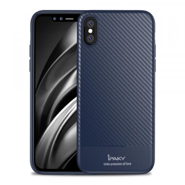 iPhone Xs Max -  IPAKY Silikon Carbon Gummi Case blau