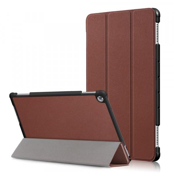 MediaPad M5 Lite 10.1 - Tri-fold Smart Leder Tasche Hülle braun