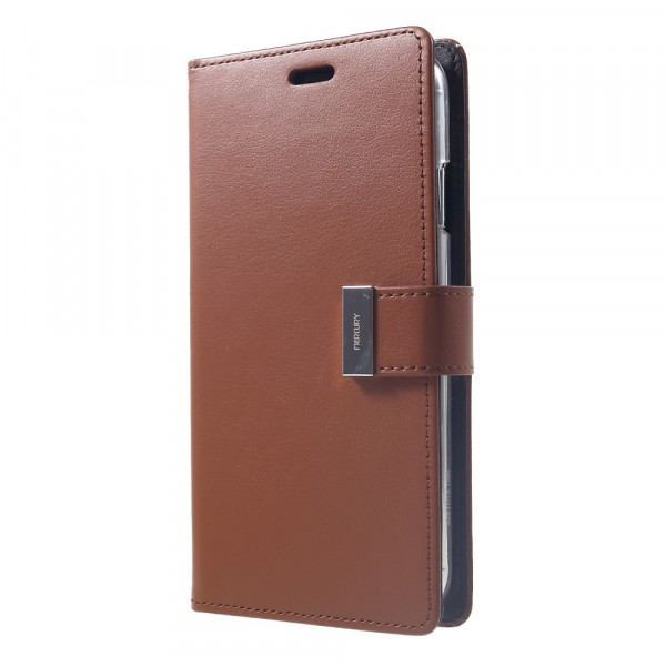 iPhone Xs Max - Mercury Rich Diary Leder Etui Brieftasche braun