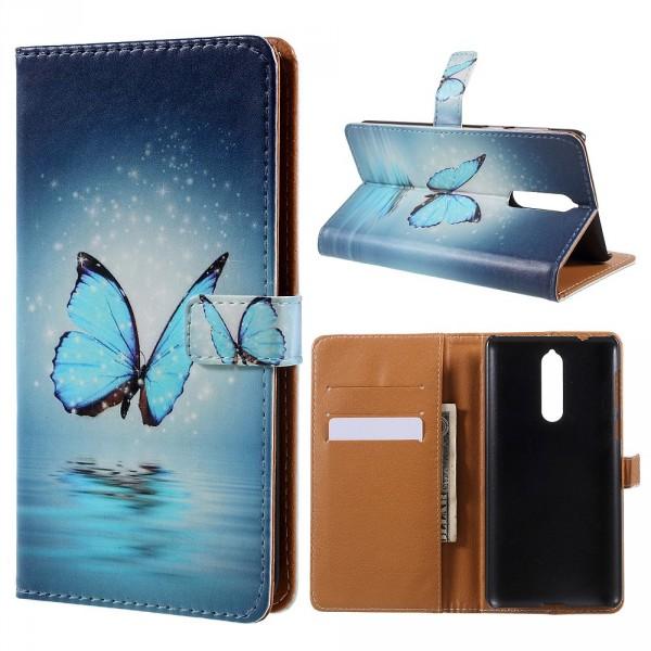 Nokia 8 - Leder Case Kartenfach Etui Schmetterling blau