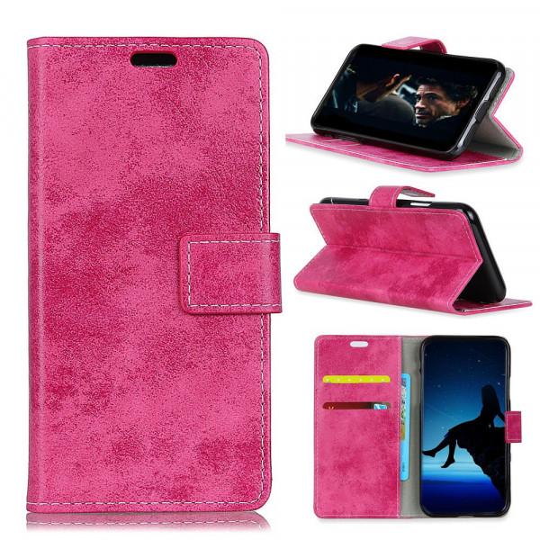 Nokia 3.1 2018 - Vintage Leder Hülle in Wildleder Optik pink