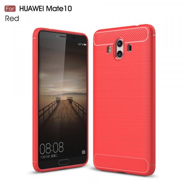 Huawei Mate 10 - Silikon Gummi Case Metall Carbon Look rot