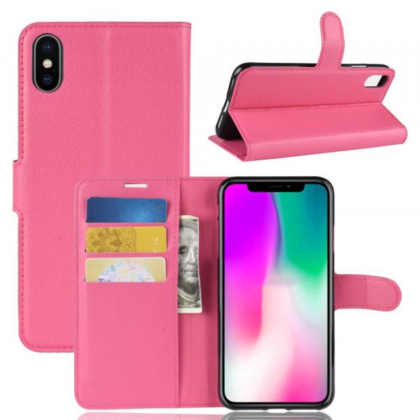 iPhone 9 - Leder Hülle mit Karten- und Fotofach pink