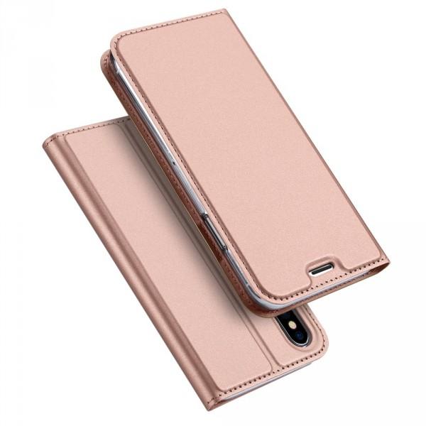 iPhone X - Dux Ducis Leder Flip Folio Case gold rosa