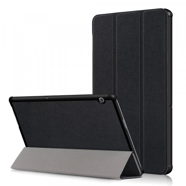 MediaPad T5 10.1 - Tri-fold Smart Leder Tasche Hülle schwarz