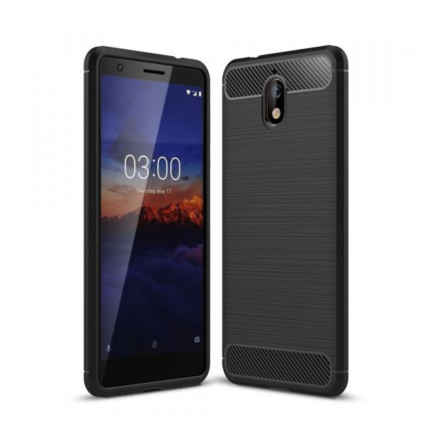 Nokia 3.1 2018 - Silikon Gummi Case Metall Carbon Look schwarz