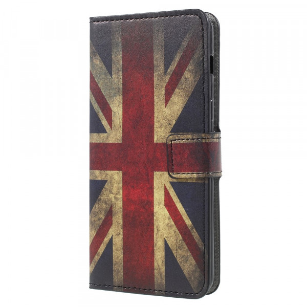 Galaxy A8 2018 - Leder Hülle Kartenfach Etui UK Retro Flagge