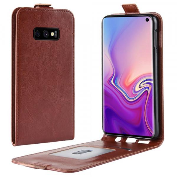 Galaxy S10 Lite - Leder Flip Case vertikal braun
