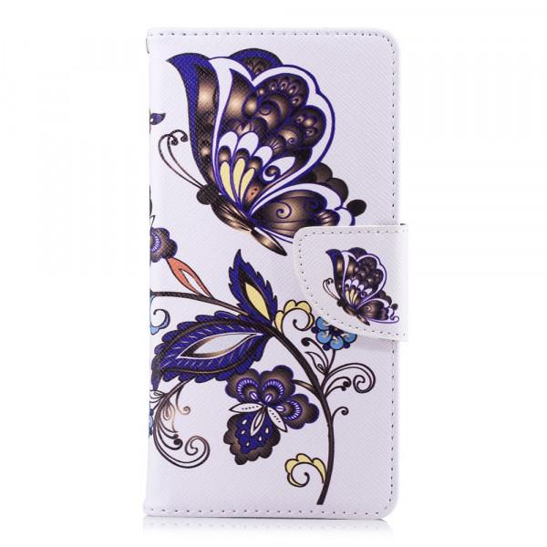 Nokia 3.1 2018 - Leder Taschen Etui  Hülle Kartenfächer Schmetterling