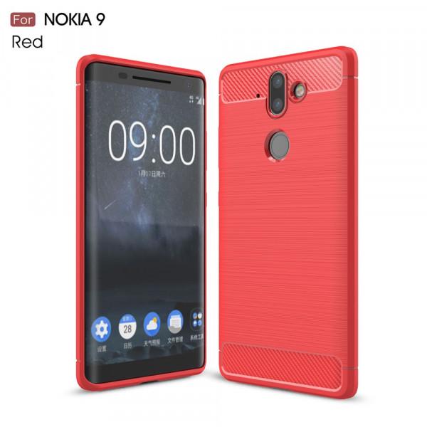 Nokia 9 - Silikon Gummi Case Metall Carbon Look rot