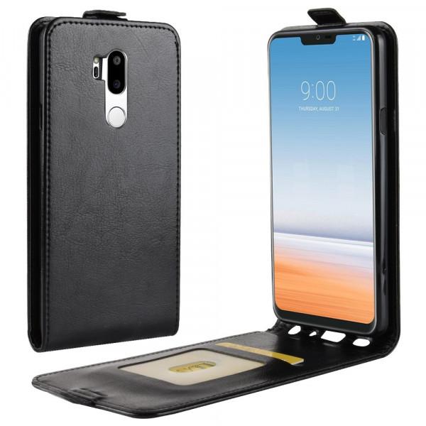 LG G7 - Leder Flip Case mit Fotofach vertikal schwarz