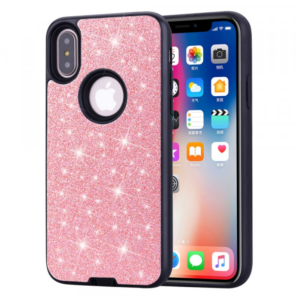 iPhone Xs / X - Hybrid Glitzer Gummi Case rosa