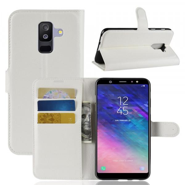 Galaxy A6+ PLUS 2018 - Leder Taschen Etui Kartenfächer weiss