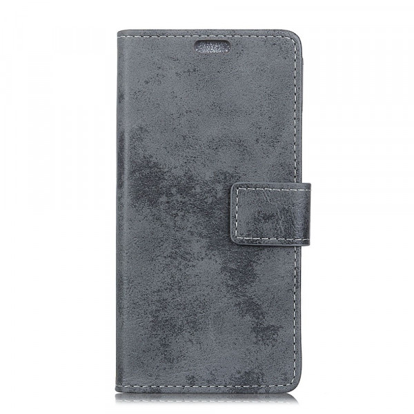 Galaxy S10 Lite - Vintage Leder Hülle in Wildleder Optik grau