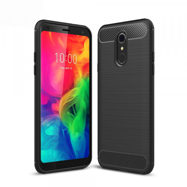 LG Q7 - Silikon Gummi Case Metall Carbon Look schwarz