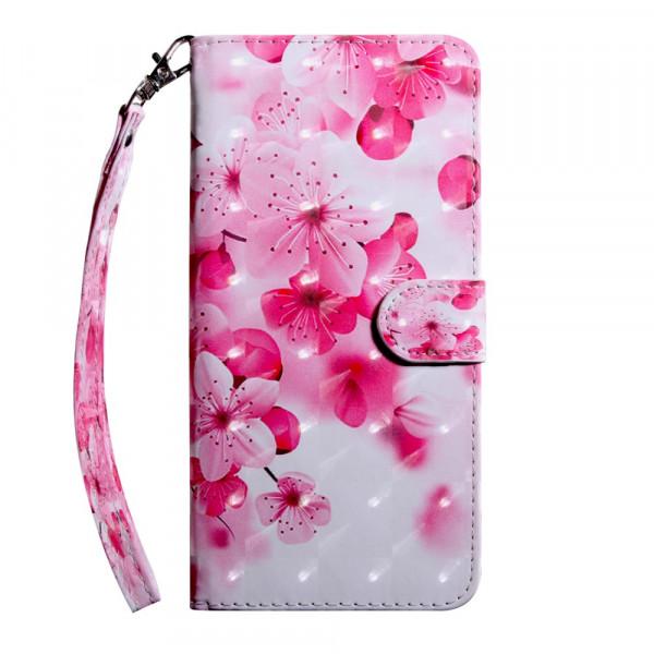 Nokia 8.1 - Etui Ledertasche Blumen Glitzer Effekt pink