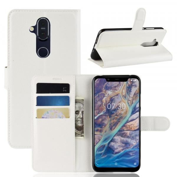 Nokia 8.1 -  Leder Etui Hülle mit Kartenfächern weiss