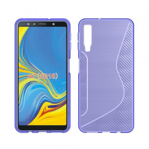 Galaxy A7 2018 - S-Line Silikon Gummi Hülle Case violett