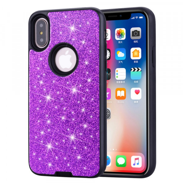 iPhone Xs / X - Hybrid Glitzer Gummi Case violett