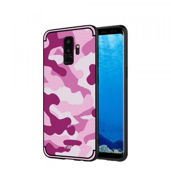 Galaxy S9 - Hybrid Silikon Case mit Kickstand Camouflage pink