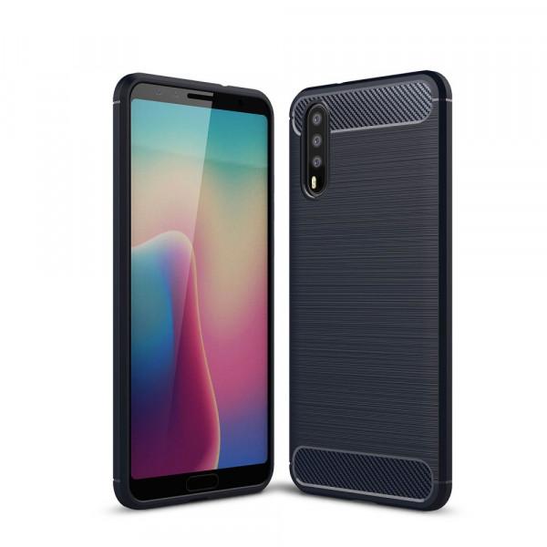 Huawei P20 - Silikon Gummi Case Metall Carbon Look dunkelblau