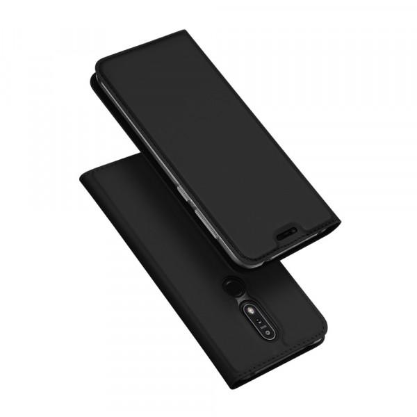 Nokia 7.1 - Dux Ducis Leder Flip Folio Case schwarz